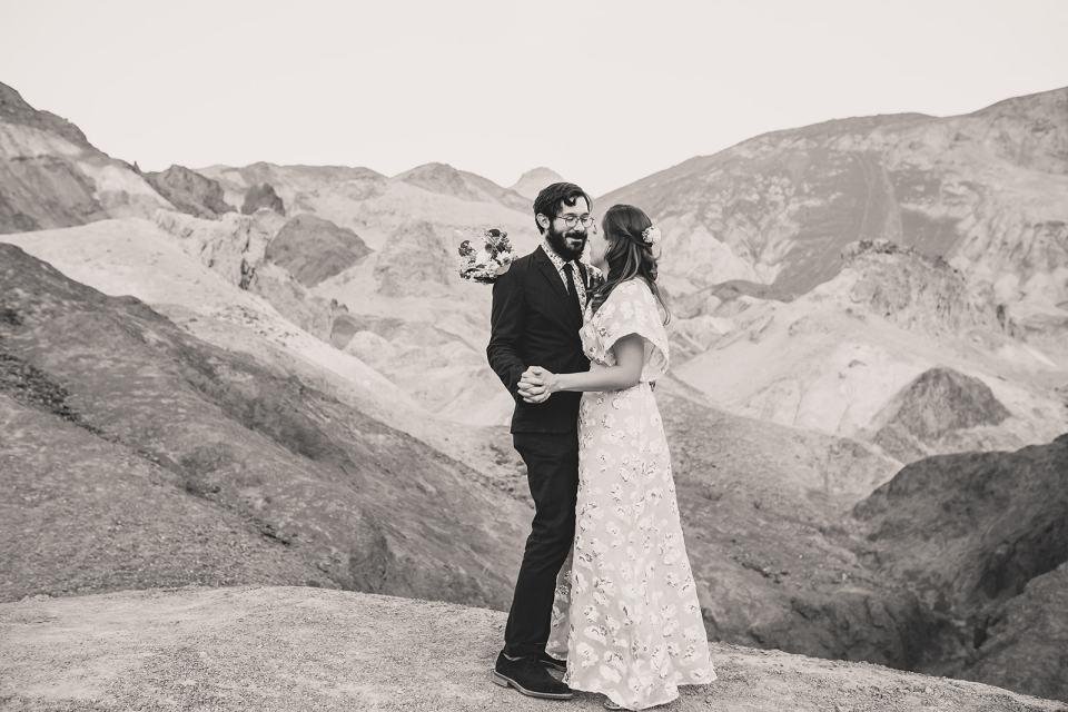 bride and groom dance at Zabriskie Point