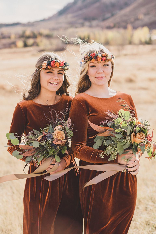 sisters pose as bridesmaids during Utah elopement