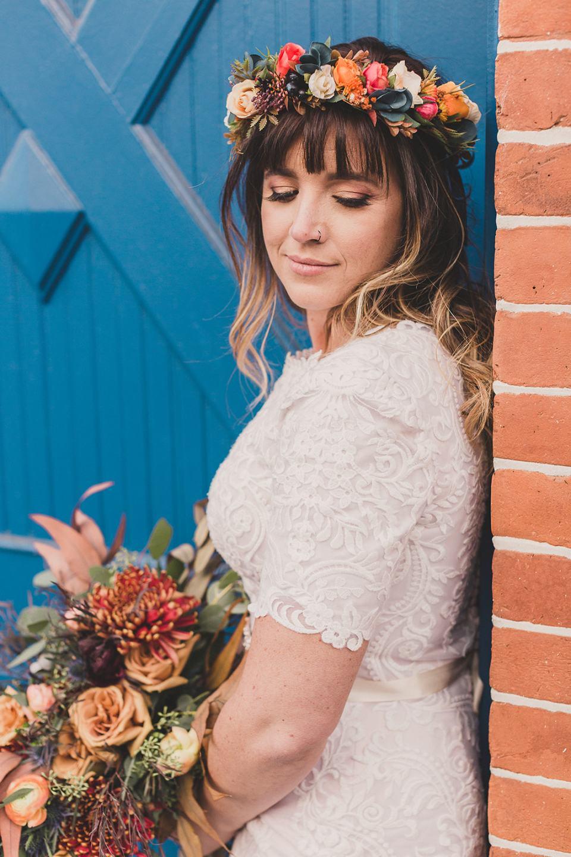Utah bridal portraits of bride with floral crown