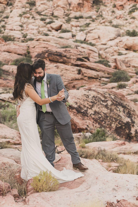 newlyweds dance after Red Spring Boardwalk Elopement