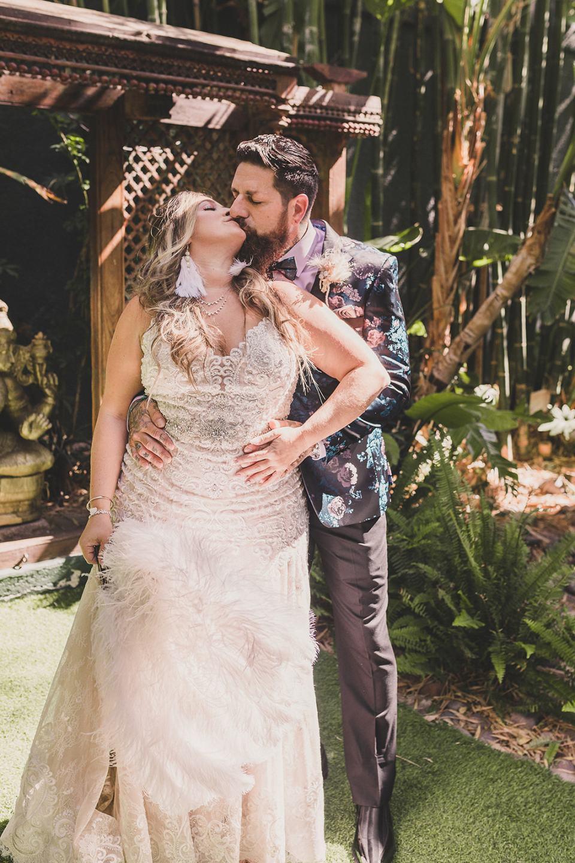 bride and groom kiss before Westin Lake Las Vegas wedding