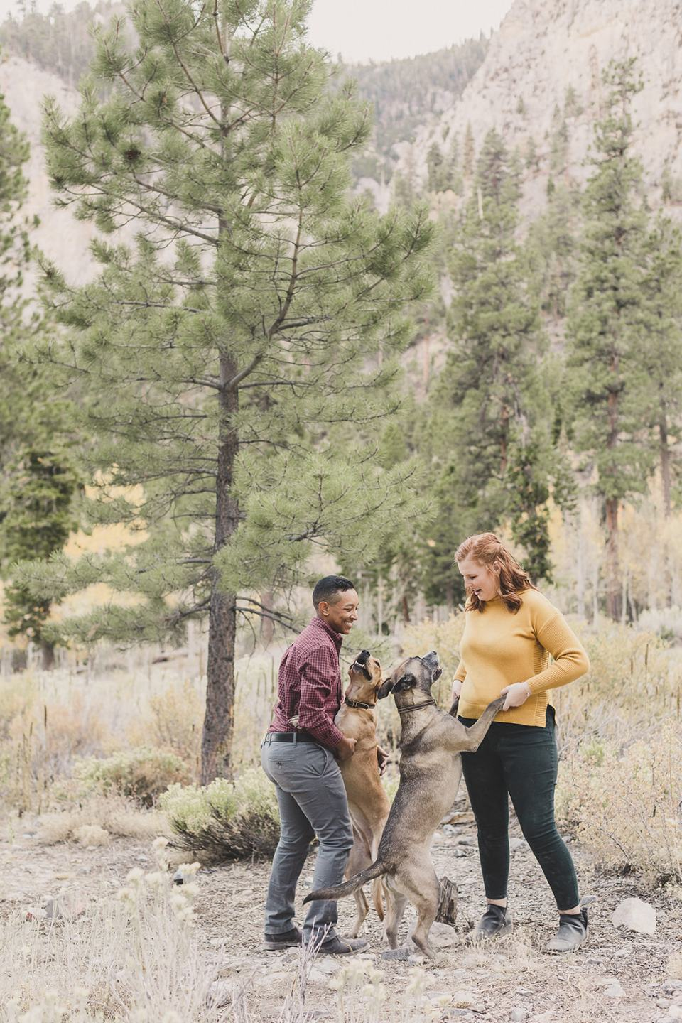 fall family photos with parents holding dogs