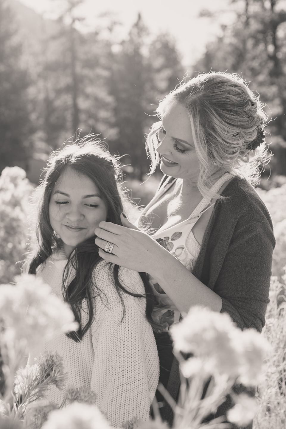 mom and daughter pose during Mt Charleston Family Portraits