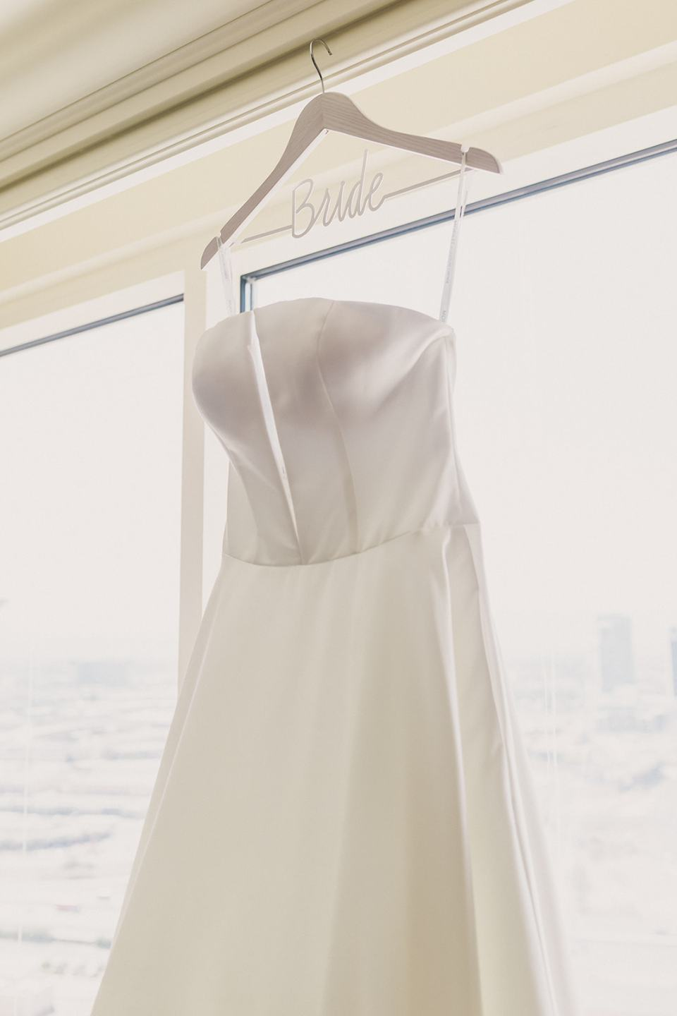 bride's dress hangs in Las Vegas hotel