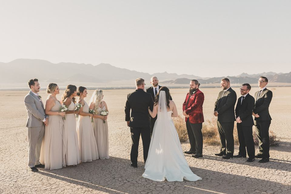 dad gives bride away during Las Vegas microwedding