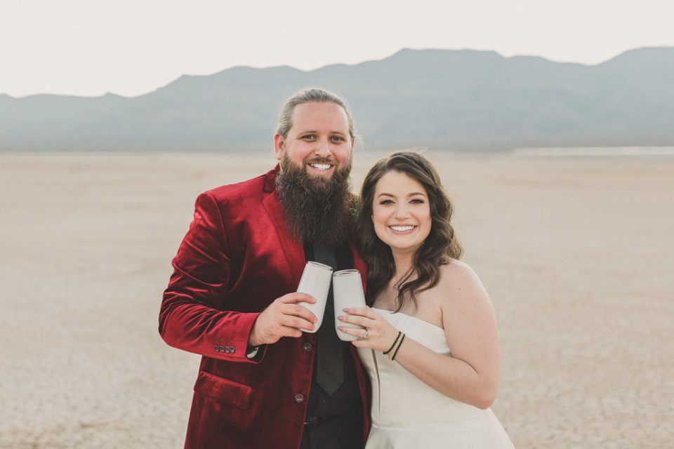 newlyweds toast Las Vegas microwedding