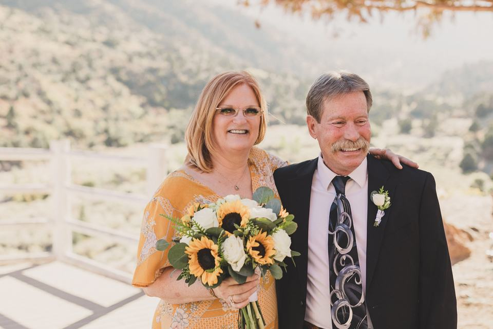 bride and groom pose at Mt Charleston Lodge