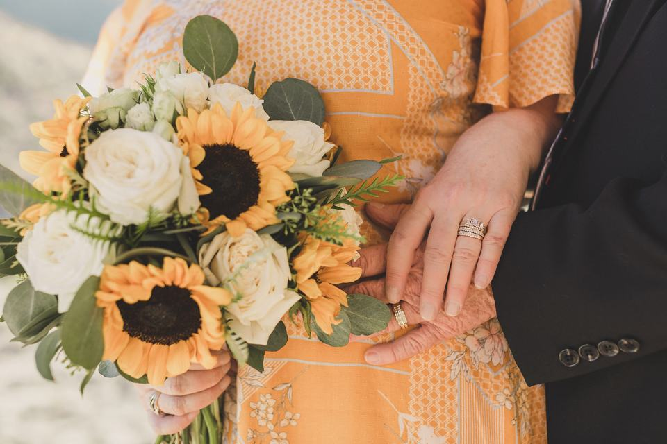 fall wedding day with sunflower bouquet