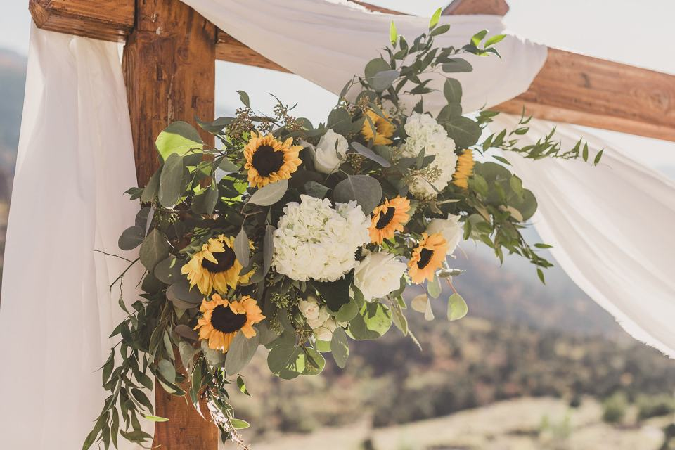 sunflower details for outdoor ceremony at Mt Charleston