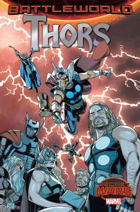 MARVEL COMICS (W) Jason Aaron (A/CA) Chris Sprouse • The Thors of every domain, together in one book! As cosmic cops! • Whenever there's trouble on Battleworld, the Thors answer the call. But a string of mysterious murders leaves some of them asking questions that may unravel all of reality! • A hard-hitting Marvel Comics police drama. With hammers. Lots and lots of hammers. Rated T+ Item Code: APR150714