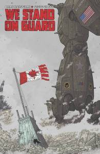 Publisher: IMAGE COMICS (W) Brian K. Vaughan (A/CA) Steve Skroce SAGA writer BRIAN K. VAUGHAN teams with artistic legend and MATRIX storyboard artist STEVE SKROCE for an action-packed military thriller that will have everyone talking. 100 years from now, a heroic band of Canadian civilians must defend their homeland from invasion...by the United States of America! The hyper-detailed combat between badass freedom fighters and giant f***ing robots begins with a spectacular 40-PAGE FIRST ISSUE for the regular price of just $2.99! Item Code: MAY150480