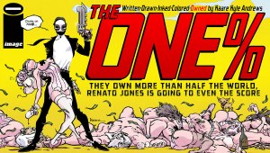 "Critically-acclaimed writer/artist/director Kaare Kyle Andrews (Spider-Man: Reign, Iron Fist: The Living Weapon) targets THE ONE% with his very first creator-owned comic. In THE ONE%, they own more than half the world, and Renato Jones is going to even the score... one percent at a time. ""Creator-owned comics have always been part of the plan,"" said Andrews. ""I can't believe I've waited so long to make the leap. I am hungry, I am angry, and I am throwing everything I have into this series. A dark neo-noir tribute to focus all of my rage and revenge."""