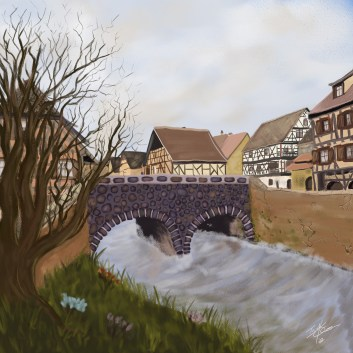 Featuring the Sining Bridge of Dijvois the only place to cross the Oliander within the walls of the city. Illustration by Taylor O'Connell.