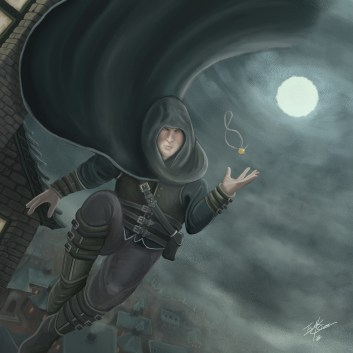 Featuring the hooded and cloaked thief of Dijvois, Salvatori Lorenzo, and the cursed artifact, the mysterious locket. Sal leaps through the open sky the locket levitating just above his hand in the foreground. The background features a cityscape of Dijvois, and the eye of the Lady White watching over our lovable rogue. Illustration by Taylor O'Connell.