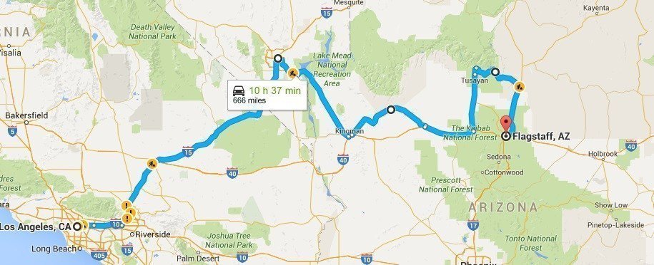 Route 66: Los Angeles to Flagstaff