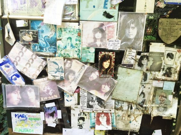 Photos and offering left behind at Marc Bolans Rock Shrine in London, United Kingdom