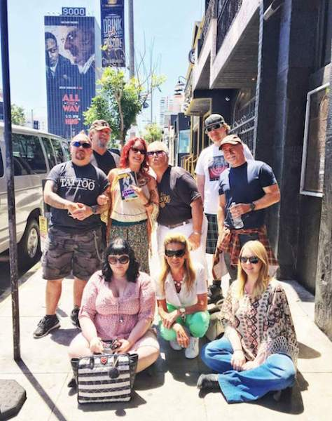 A group on a music tour of Hollywood and Laurel Canyon with Pamela des Barres