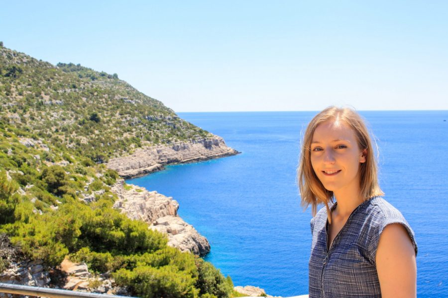 Cailee in the foreground with the Adriatic sea and the coastline in the background