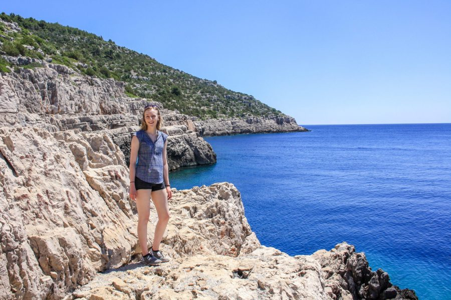 hiking to Odysseus Cave, on the edge of the cliff with the Adriatic Sea