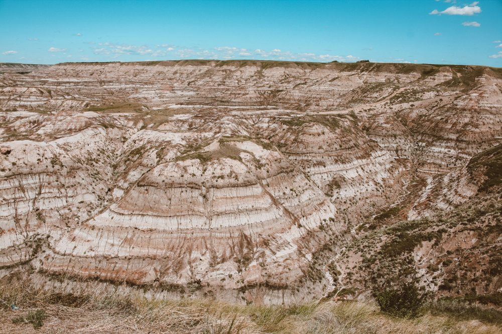 An aerial view of the Red River Canyon in Drumheller, Alberta Canada
