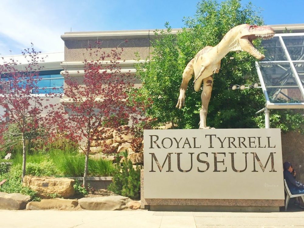 A dinosaur statue outside of the Royal Tyrrell Museum in Drumheller, Alberta