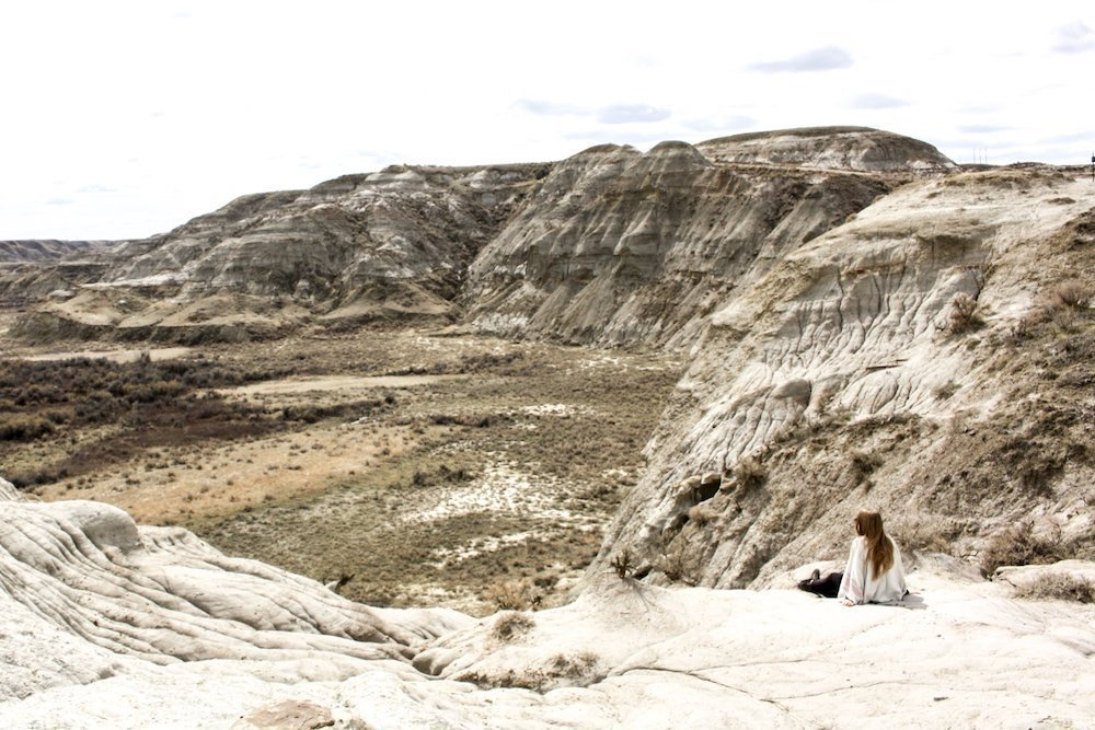 Taylor On a Trip overlooks the dusty brown canyon at Dinosaur Provincial Park, Alberta