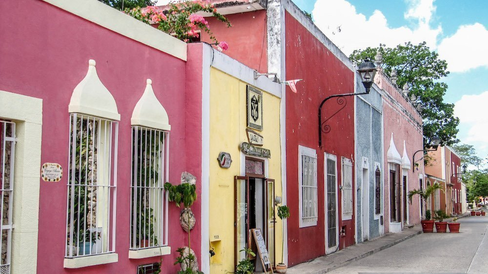 A colorful street in Valladolid, Mexico