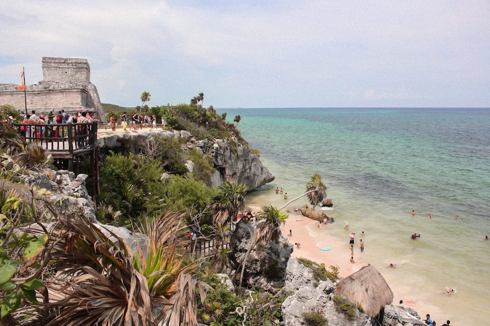 a view of the Tulum Ruins and the ocean in Tulum, Mexico