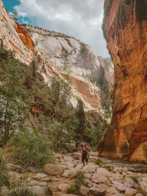 Hiking through the Narrows at Zion National Park