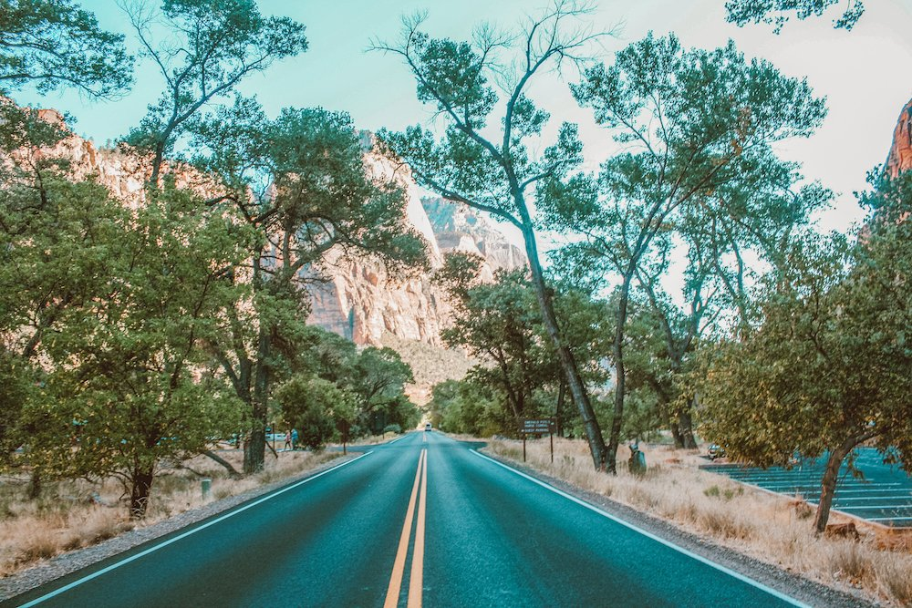 A road goes through Zion National Park, Utah