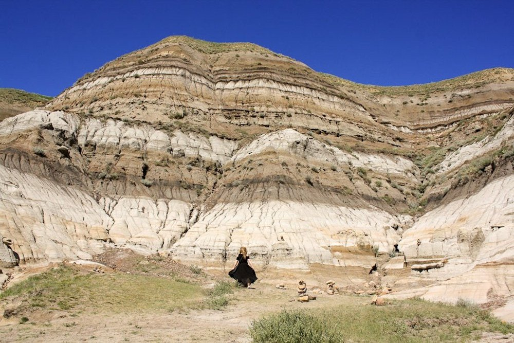 Layers of rock are exposed in Drumheller National Park, Alberta Canada