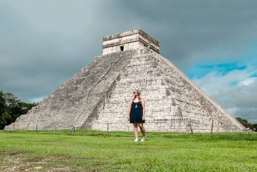 Taylor stands in front of the main pyramid of Chichen Itza