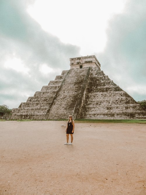 Taylor stands in front of the main pyramid at Chichen Itza, El Castillo