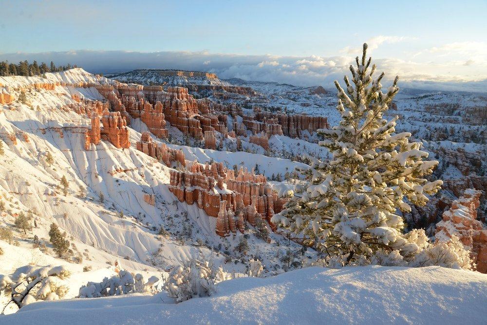 A winter scene in Bryce Canyon Utah