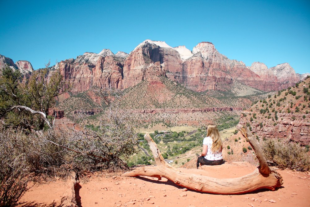 Taylor looks out over the Zion Valley in Zion National Park, Utah.