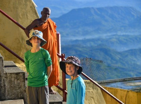 Boys with the monk at the summit temple