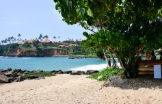 Massive resort and tiny beach at Cape Weligama