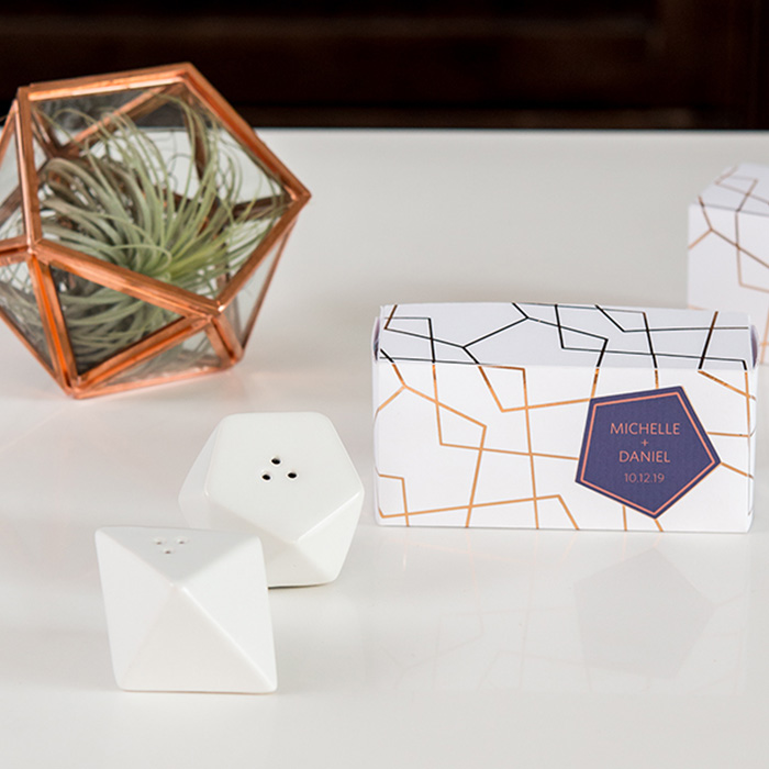 White Geometric Salt & Pepper Shaker Set