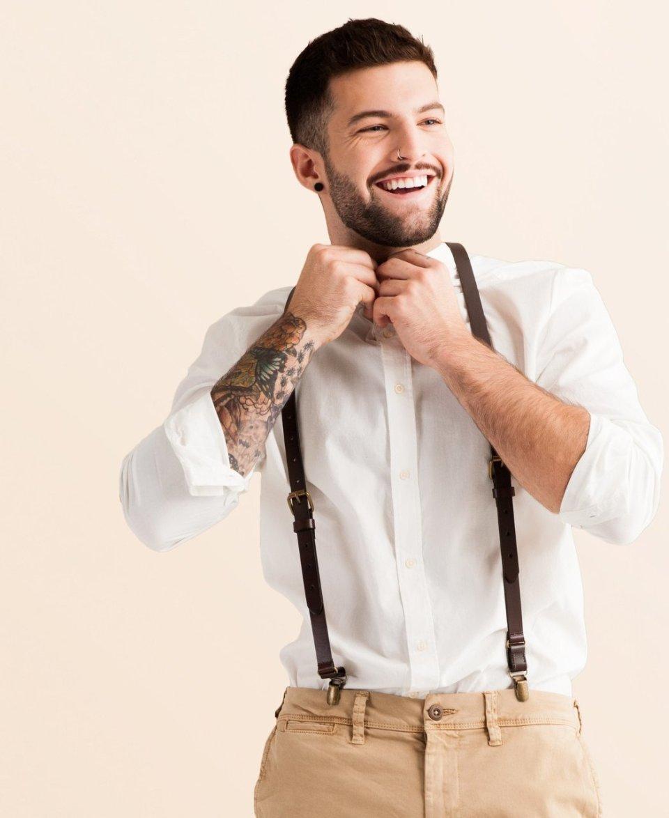 Leather Suspenders | Chestnut Java Design | Brown