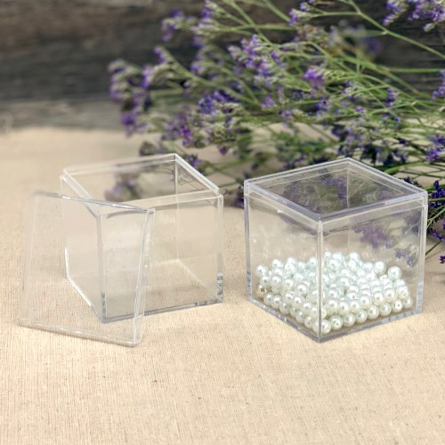 Square Clear Acrylic Plastic Box - Large (Sets of 10)