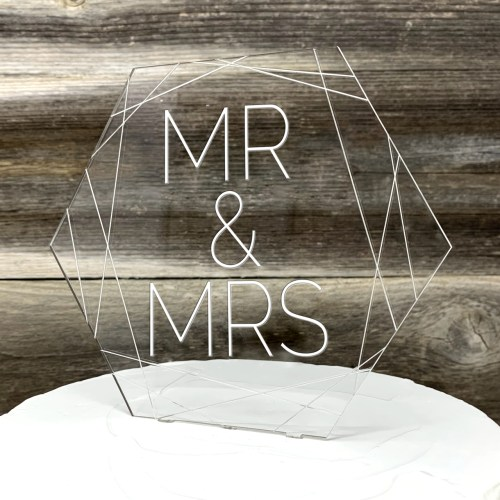 Elegant Mr & Mrs Acrylic Wedding Cake Topper With Geometric Design