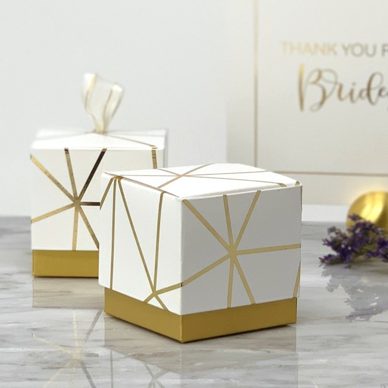 White and Gold Foil Geometric Favor Box (Set of 12)