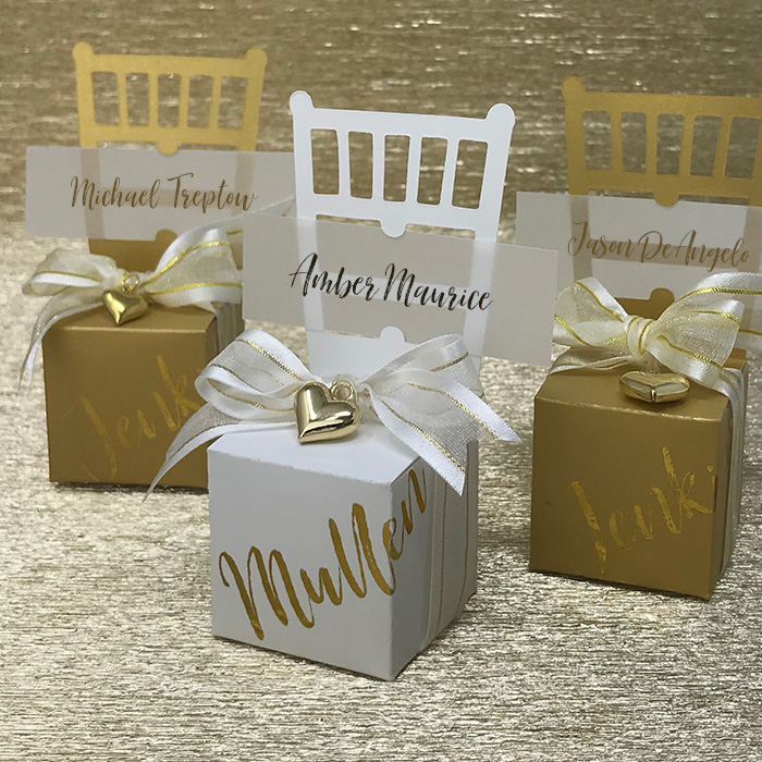 Miniature Chair Favor Box & Place Card Holder - Gold Foil Script