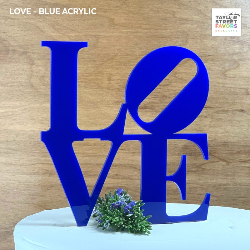 Blue Philly Love Cake Topper
