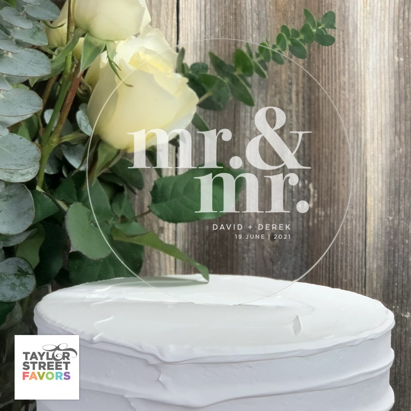 Round Acrylic Mr & Mr Wedding Cake Topper - Etched