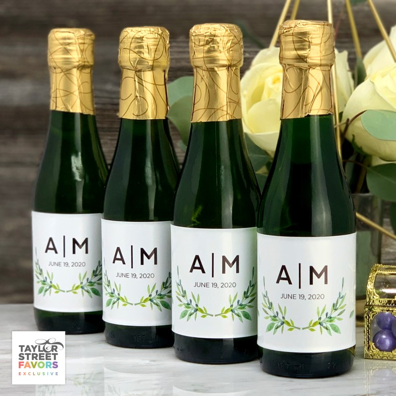 Personalized Labels for Mini Wine Bottles - Botanical Wreath (Sheet of 8)