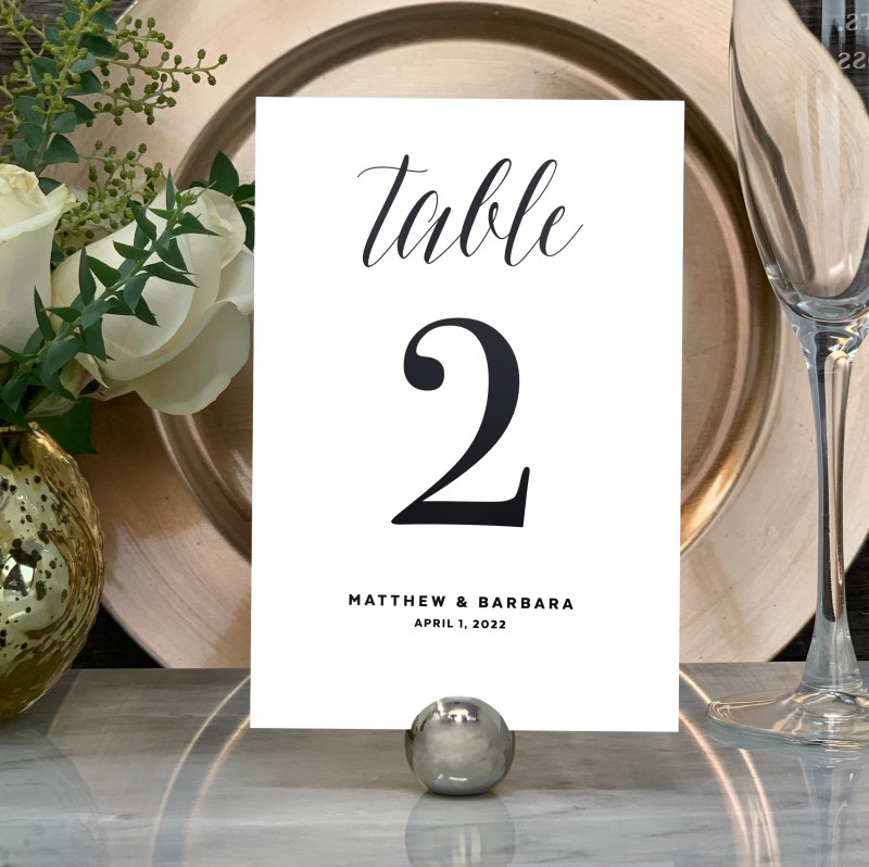 Our Traditional Wedding Table Numbers are shown here in black foil.
