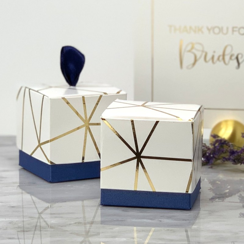 White & Gold Foil Geometric Favor Box (Set of 12) - Navy Blue Base