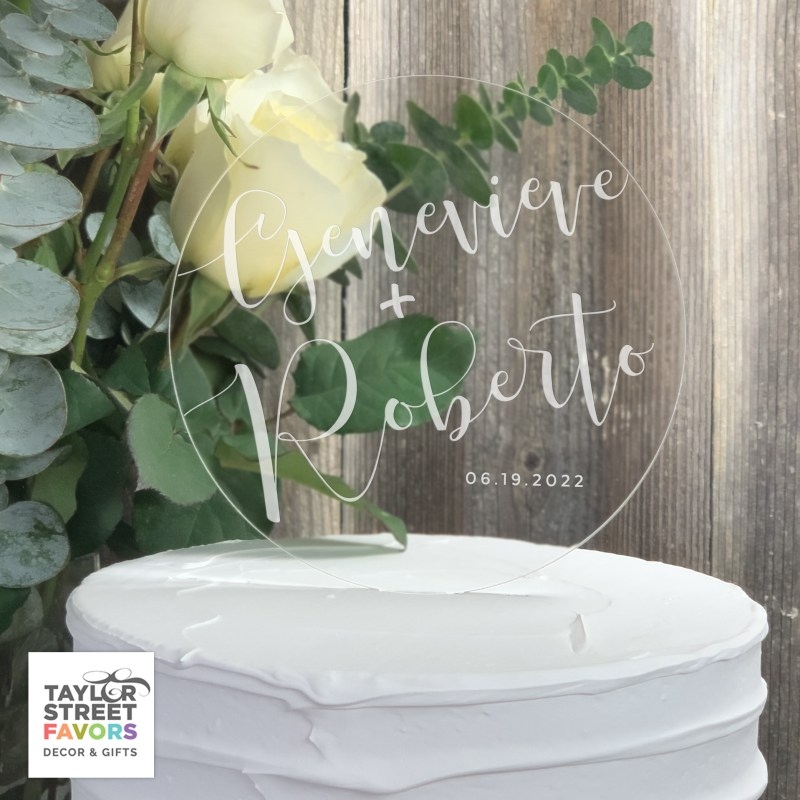 Round Cake Topper with Etched script names