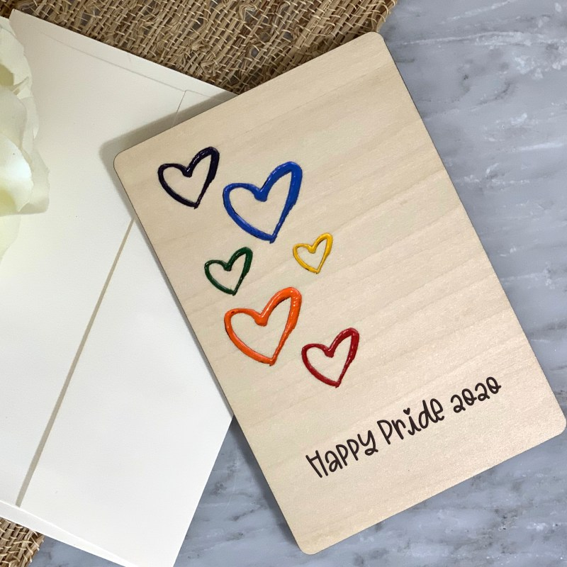 4 x 6 Pride Greeting Card, Rainbow Hearts Card